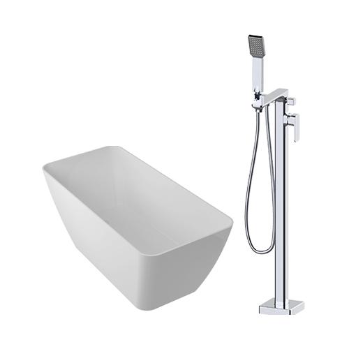 Parma lieto akmens vonia + OMNIRES Apure AP2233 grindinis maišytuvas