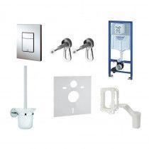 GROHE Komplektas-WC rėmas+Cosmo mygtukas+sieniniai tvirtinimai+tarpiklis+WC šepetys + Grohefresh (6in1)