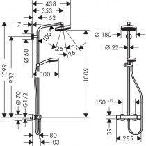 HANSGROHE Crometta 160 dušo sistema su termostatiniu maišytuvu