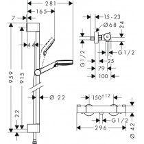 HANSGROHE Crometta Ecostat 1001 CL Combi 0,90m su termostatiniu maišytuvu