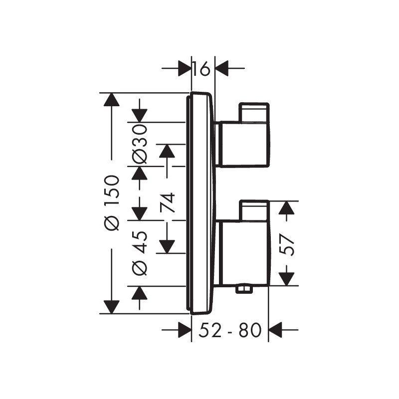 HANGROHE Ecostat S termostatinis virštinkinis maišytuvas