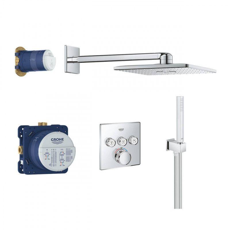 Potinkinis termostatinis komplektas SmartControl Cube  310, 3 padėčių,158x158 mm, chromas